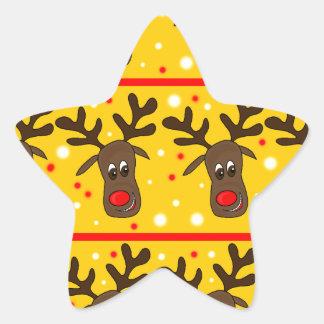 Motif de renne de Noël - jaune Sticker Étoile