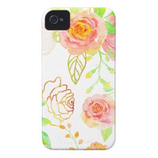 Motif de rose d'aquarelle et de rose d'or coque iPhone 4