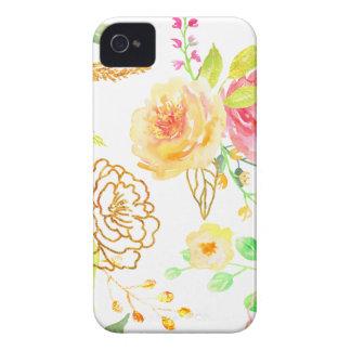 Motif de rose de pêche et d'or d'aquarelle coque iPhone 4