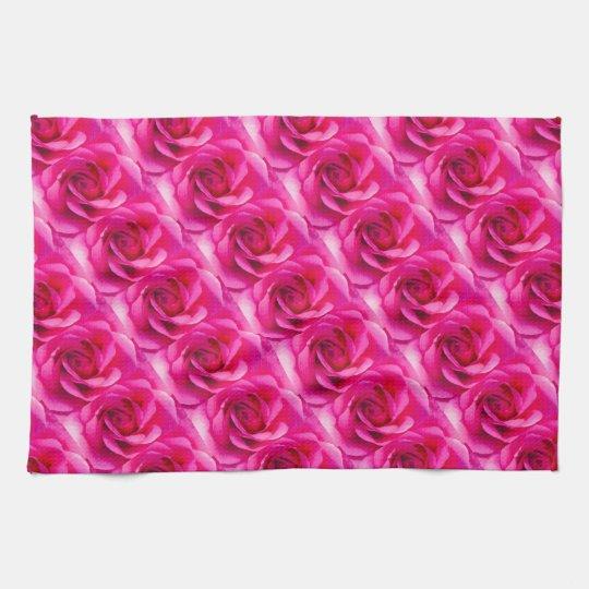 Motif de rose de rose serviettes pour les mains