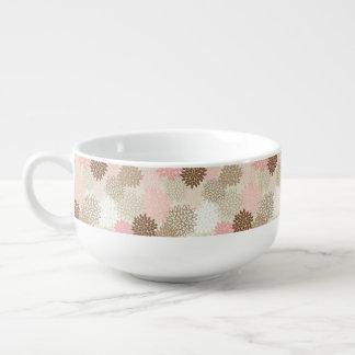 Motif de rose et de maman de Brown Mug À Soupe