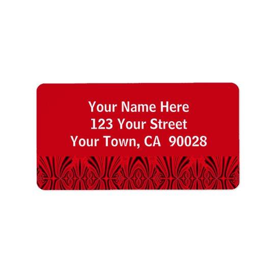 motif de rouge et de noir étiquette d'adresse