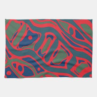 Motif de rouge et de vert linges de cuisine