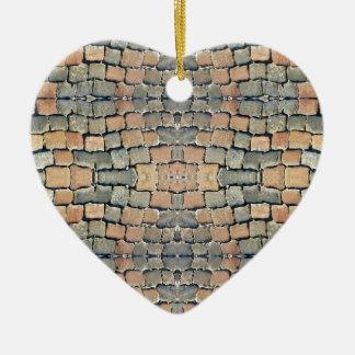 Motif de rue de pavés ornement cœur en céramique