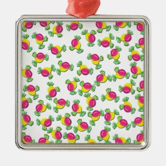 Motif de sucrerie ornement carré argenté