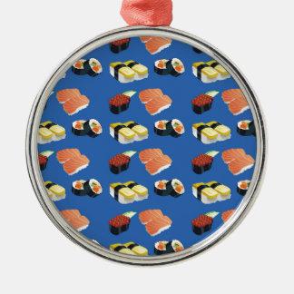 Motif de sushi ornement rond argenté