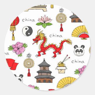 Motif de symboles de la Chine Sticker Rond