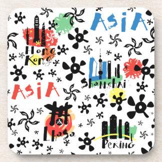 Motif de symboles de l'Asie | Dessous-de-verre