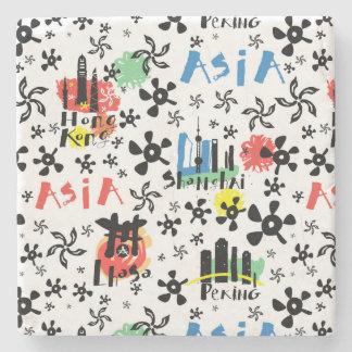 Motif de symboles de l'Asie | Dessous-de-verre En Pierre