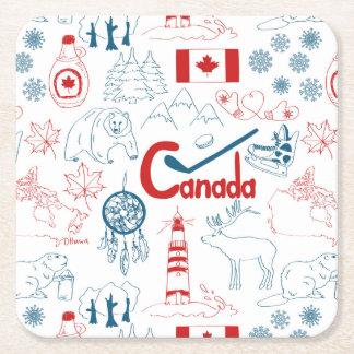 Motif de symboles du Canada | Dessous-de-verre Carré En Papier