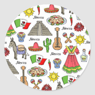 Motif de symboles du Mexique | Sticker Rond