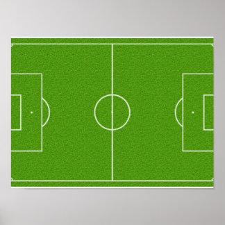 Motif de terrain de football sur l herbe affiche