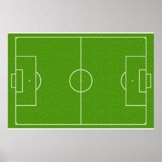 Motif de terrain de football sur l'herbe poster