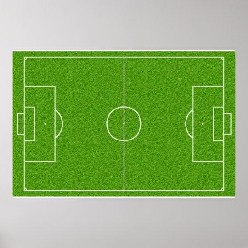 Motif de terrain de football sur l'herbe affiche
