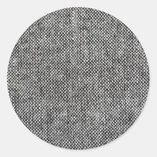 Motif de texture de tissu de tweed de gris de adhésifs ronds