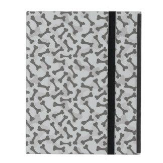 Motif de texture d'os à fond gris étuis iPad
