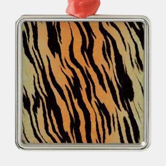 Motif de tigre ornement carré argenté