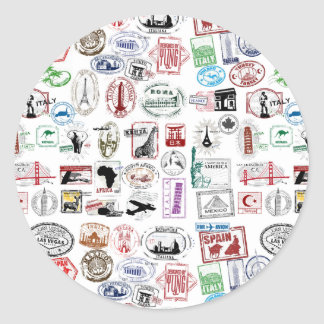Motif de timbres de voyage sticker rond