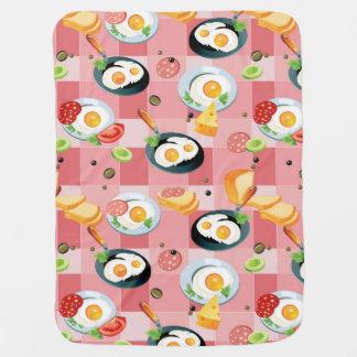 Motif de tomate et d'oeufs au plat couvertures de bébé