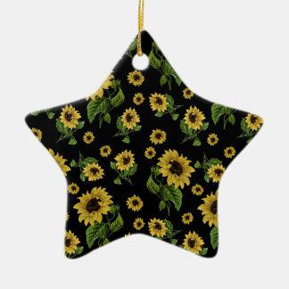 Motif de tournesols ornement étoile en céramique