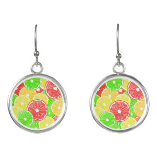 Motif de tranches de citron, d'orange, de boucles d'oreilles