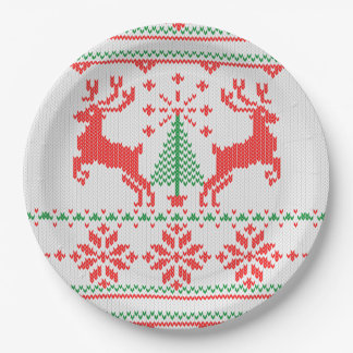 Motif de tricot de style de pullover de Noël Assiettes En Papier
