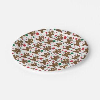 Motif de vacances de bonhommes en pain d'épice assiette en papier 17,8 cm