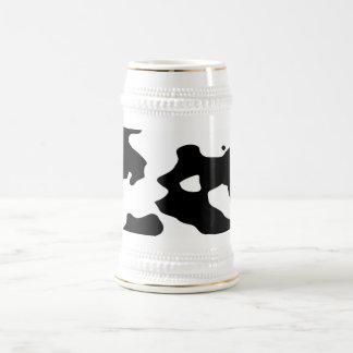 Motif de vache noir et blanc chope à bière