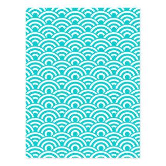 Motif de vague japonais blanc bleu d'Aqua Carte Postale