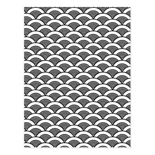 Motif de vague japonais blanc noir carte postale zazzle - Motif noir et blanc ...