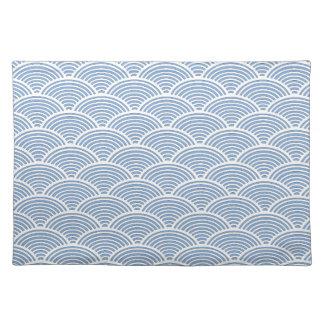 Motif de vague japonais dans bleu et blanc sets de table