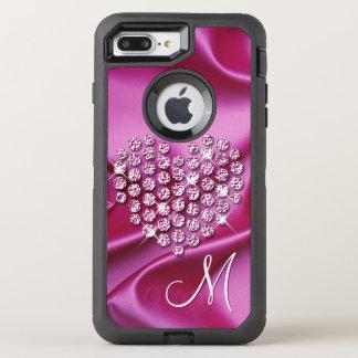 Motif de vagues en soie de Faux de diamants de Coque OtterBox Defender iPhone 8 Plus/7 Plus