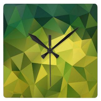 Motif de vert jaune horloge carrée
