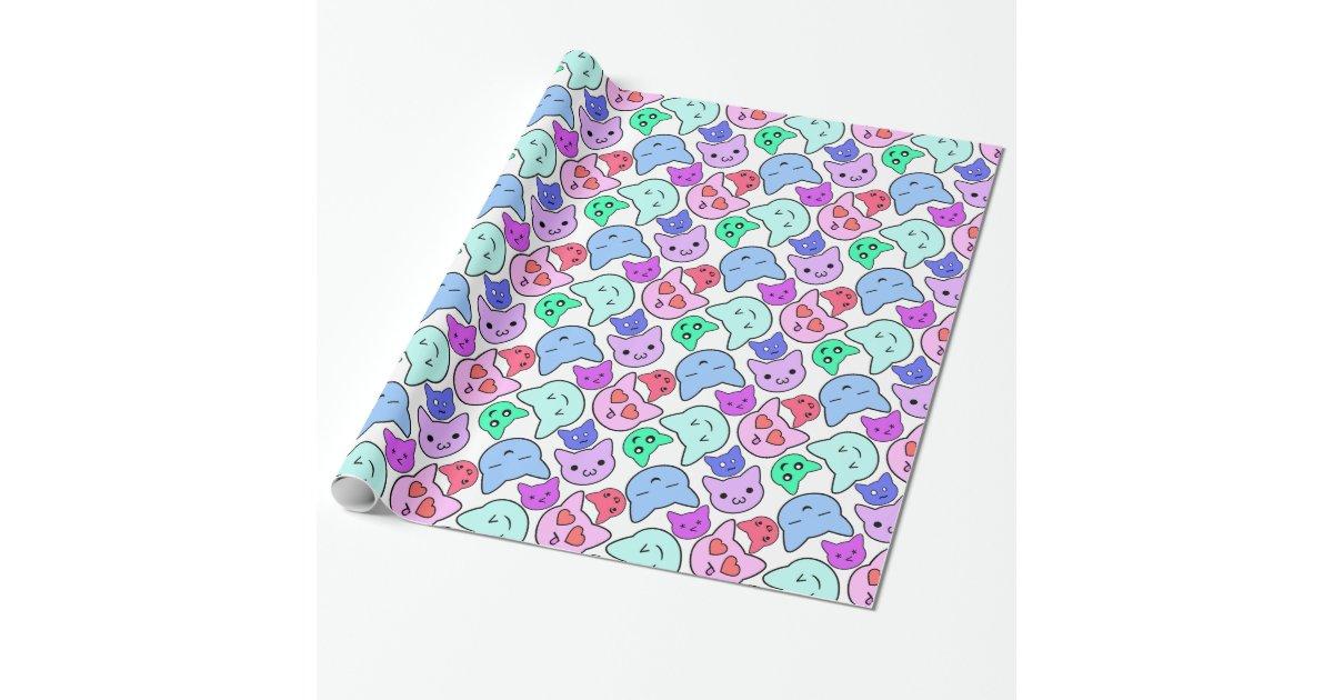 motif de visage de chat de kawaii papier cadeau no l zazzle. Black Bedroom Furniture Sets. Home Design Ideas