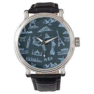 Motif de voyage dans le motif de bleus montres bracelet