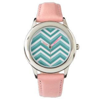 Motif de zigzag aquatique de chevron de turquoise montres cadran