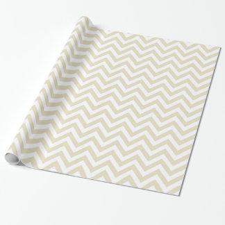 Motif de zigzag blanc beige de Chevron de sable Papier Cadeau