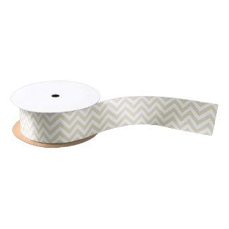 Motif de zigzag blanc beige de Chevron de sable Ruban En Satin