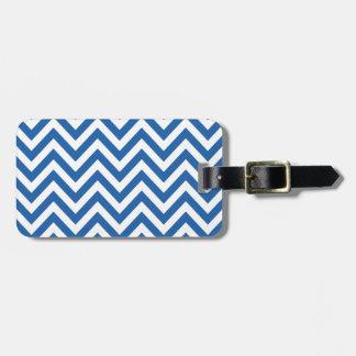 Motif de zigzag bleu et blanc de Chevron Étiquette Pour Bagages