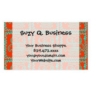 Motif de zigzag bleu turquoise orange de hiboux carte de visite standard