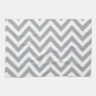 Motif de zigzag gris et blanc de Chevron Serviettes Pour Les Mains