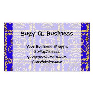 Motif de zigzag jaune bleu de hiboux colorés d'amu carte de visite