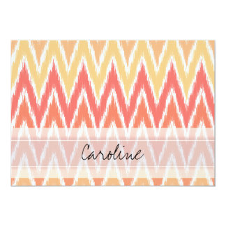 Motif de zigzag orange d'Ombre Ikat Chevron de Carton D'invitation 12,7 Cm X 17,78 Cm