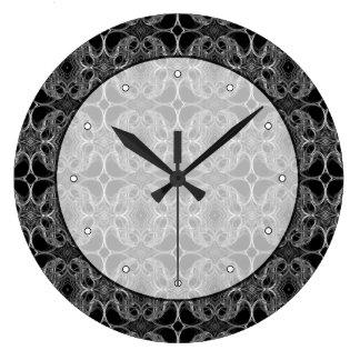 Motif décoratif de fantaisie en noir et blanc. grande horloge ronde