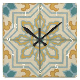 Motif décoratif de tuile de Vieux Monde Horloge Carrée