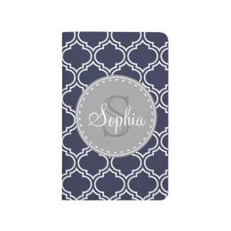 Motif décoré d'un monogramme de trellis de bleu carnet de poche