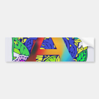 Motif décoré d'un monogramme floral coloré mignon autocollant de voiture