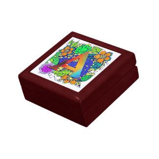Motif décoré d'un monogramme floral coloré mignon boîte à souvenirs