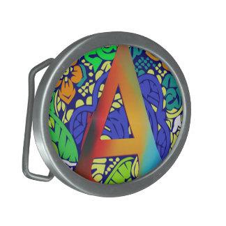Motif décoré d'un monogramme floral coloré mignon boucles de ceinture ovales
