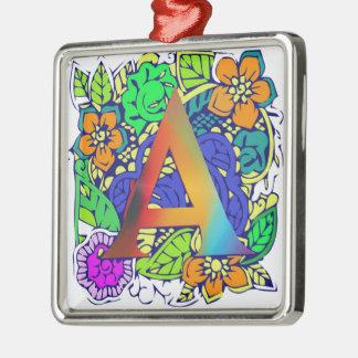 Motif décoré d'un monogramme floral coloré mignon ornement carré argenté